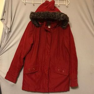 Studio works red long jacket size S With cap
